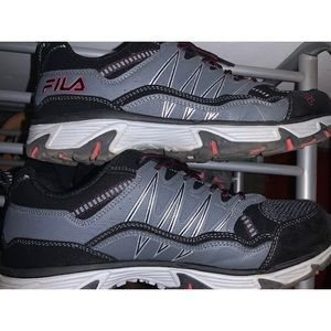 FILA EVERGRAND BLACK AND RED MENS RUNNING SHOES